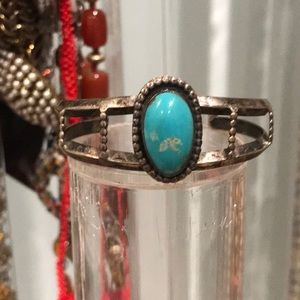 BEAUTIFUL VINTAGE CUFF TURQUOISE ANS STERLING